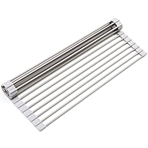 Surpahs Over The Sink Multipurpose Roll-Up Dish Drying Rack (Warm Gray, Large – 20.5″ x 13.1″)