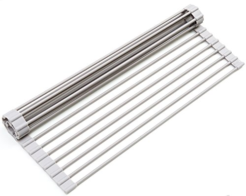 Surpahs Over the Sink Multipurpose Roll-Up Dish Drying Rack (Warm Gray, Large) (Grid Air Double)