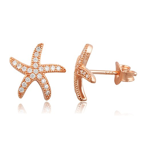 Rose Gold Tone Silver Cz Starfish Stud Earrings - 11mm