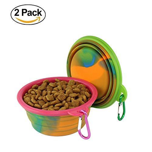 wangstar Zusammenklappbarer Reise Hundenapf,Silikon Haustier Fressnapf,Haustier Katze Hund Napf,2 Sets (Grün+Rosa)