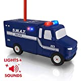 Amazeko Electric Pencil Sharpener with Police Lights and Sounds for Kids. Includes Carbon Steel, Batteries, Electronic Sharpener, Pencil. Perfect for Easter, Graduation, Birthdays and SWAT fans