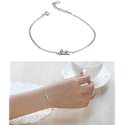 Julie's Jewelry 925 sterling silver cute cat earring, rings, Pendant Collarbone Necklace & silver cat bracelet (Hand catenary)