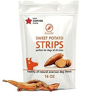 TickledPet Sweet Potato Treats for Dogs – Best Natural Rawhide Alternative Dog Treat – USA Made Grain Free Dog Chews