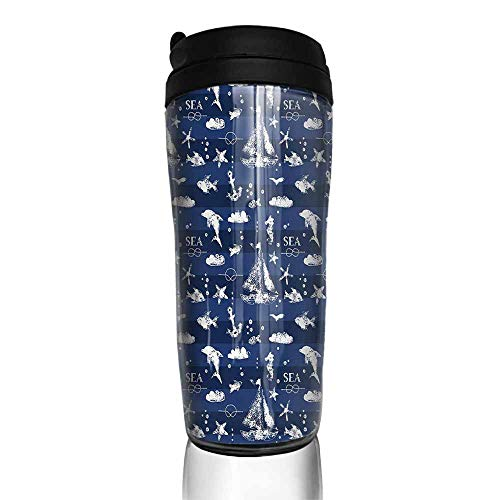 - coffee cups for mom and dad Navy Blue,Sailboat Vertical Stripe Pattern Anchor Fishes Gulls Paint Effect Nautical Theme,Blue White 12 oz,4 cup coffee packs for hotel