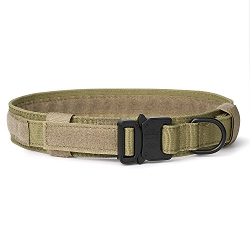 Khaki Dog (SANSTHS Adjustable Tactical Dog Collar with Quality Cobra Buckle Army Military Dog Neck Strap Cool Style Collar 20 Inch Coyote Brown)