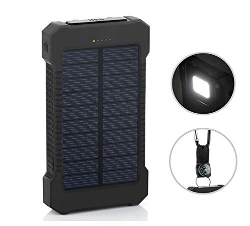 Waterproof 300000Mah Portable Solar Charger Dual Usb Battery Power Bank Rt Phone  Black   Black