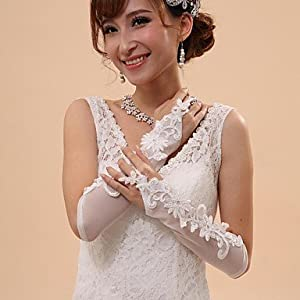 Elbow Length Fingerless Glove Tulle Bridal Gloves / Party/ Evening Gloves Spring / Summer / Fall / Winter Beading / Embroidery / lace