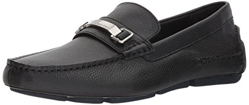 Calvin Klein Men's MIKOS Tumbled Leather Loafer, Black, 9.5 Medium US