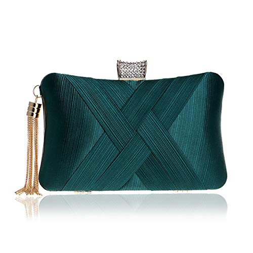 - Evening Clutches Bags For Women Green Satin Silk Party Handbags Bridal Wedding Purses With Tassel Pendant
