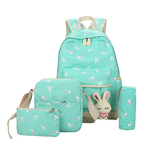 Jenny Mall Cute Canvas School Backpack Laptop Book Pack Cute Rabbit Pattern Book Bag 4 PCS For Kids/Children/Girls (Mint (Bunny Backpack)