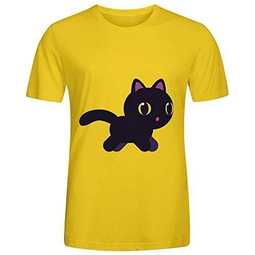Price comparison product image Love Kitten Mens Crew Neck Customized T Shirt Yellow
