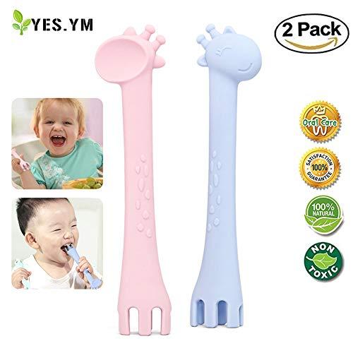Giraffe Spoon - YesYM 2Pcs Soft Silicone Spoon & Fork Training Set Baby Teething Chew Toys Giraffe Training Spoons