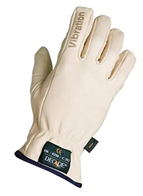 Decade 49003 Leather Anti-Vibration Full-Finger Left Hand Driver's Glove with Gfom, Buff, Large