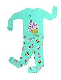Elowel Girls Cupcake 2 PieceKids Childrens Pajama Set 100% Cotton (6M-8Y)