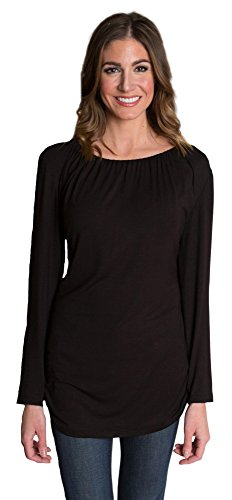 Udderly Hot Mama Luxe Long Sleeve Easy Drape Nursing Top - Black, Size 2