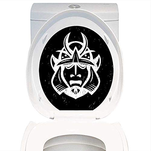 Qianhe-Home Decoration Bathroom Toilet Cover Sticker Japanese Decor Traditional Ancient Martial Helmet Eastern Medieval Spiritual War Mythology Pattern Black White. for Restroom Wall Decals W12 x -