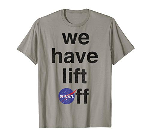 (NASA We Have Lift Off Text Stack and Logo Graphic T-Shirt)