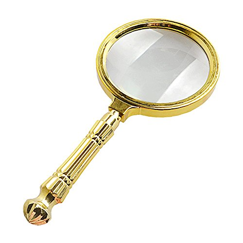 CLSTTOO HD 10X Magnifying Glass, Metal Carved Handle Portable Handheld Reading Magnifying Glass Reading Newspaper FANGDJ