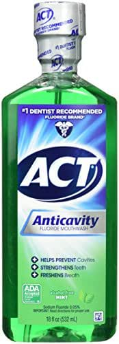 ACT Alcohol Free Anticavity Fluoride Rinse, Mint - 18 oz - 2 pk