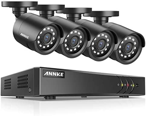 ANNKE New 8CH Surveillance DVR System and 4 1080P CCTV Bullet Cameras with 100ft Night Vision, 5-in-1 1080N DVR Recorder with P2P Technology, Motion Detection, NO Hard Drive