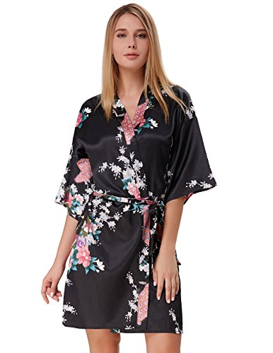 Robe Kimono Silk for Women Peacock Floral Dressing Gown Black Size XL (Floral Silk Gown)