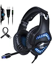 Qingta Gaming Headset K1, 3.5mm Stereo Sound Comfortable Headphones with LED Light Noise Cancelling Headset with Mic for PS4 Xbox One Laptop PC 0205