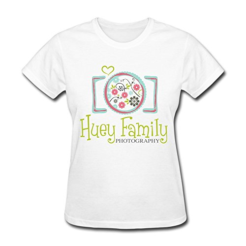 Vansty Huge Family Short Sleeves T Shirt For Lady White Size XL