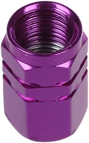 RETYLY 4x 六角タイヤタイヤバルブステムキャップカバー 紫 車の為