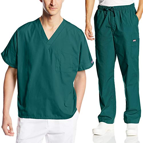 Cherokee Mens Workwear Scrub Set Medical/Dentist Uniform V-neck Top & Cargo Pant (Hunter, Medium)]()