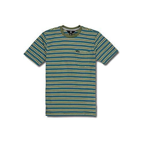 (Volcom Big Boys Moore Classic Stripe Pocket Short Sleeve Tee, Squadron Green, Small)