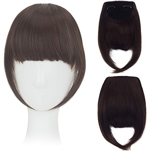 FIRSTLIKE 8 Inch Hair Clip-in Hair Bang Full Fringe Short Straight Hair Extension for Lady