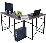GreenForest L-Shaped Corner Computer Desk Wooden Writing PC Laptop Gaming Table Workstation for Home Office, Brown