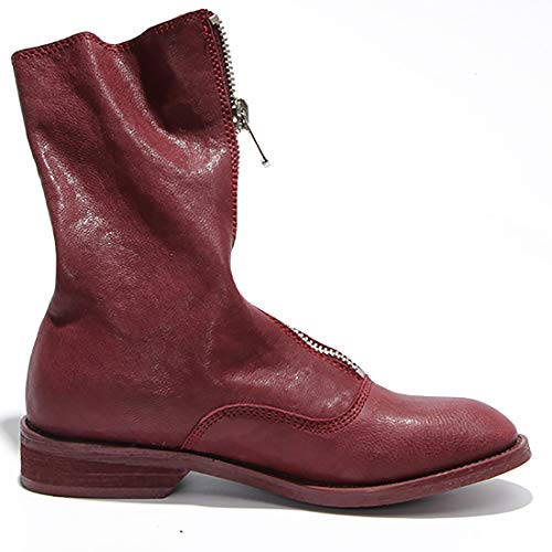 Zipper Leather cm Heel 518 Womens 3 Juworth Ankle Red Boots Jushee Low HT6Zqw