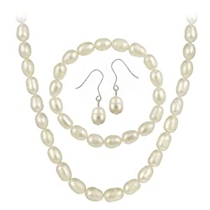 Sterling Silver Freshwater Cultured Pearl Jewelry Necklace, Bracelet Earring Set