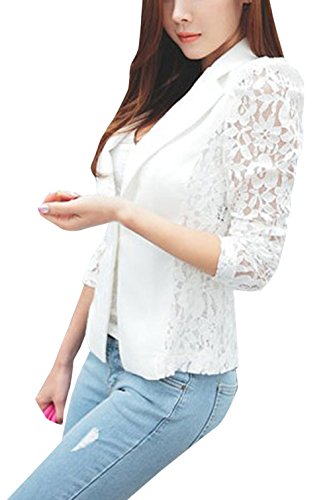 Giacche Primavera Tops Cappotto Lunga Cime Cucitura Manica Pizzo Outerwear Jacket E Moda Donne A Tailleur Bianca Giacca Coat Autunno Rrvx81R
