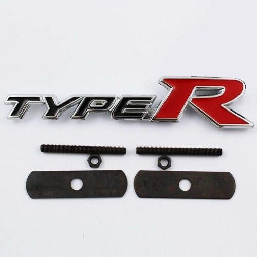 Cromo Y Rojo Type R 140mm x 30mm Metal Frontal Grill Bonnet Badge Emblema para Civic Accord Integra Prelude