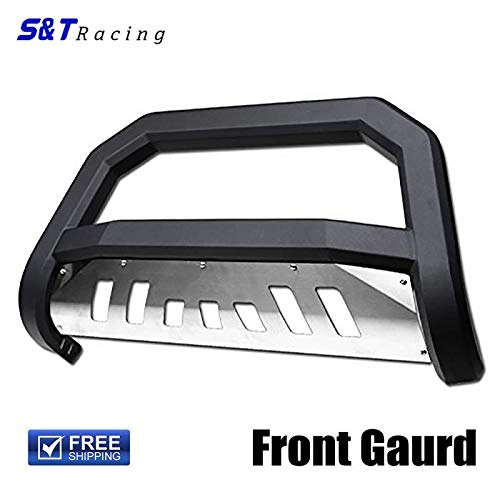 S&T Racing Matte Black Solid Edge Bold Bull Bar Brush Push Bumper Guard+Ss Skid 98-11 Ford Ranger ()