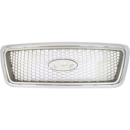 2004 F150 Grill (Evan-Fischer EVA17772022970 Grille for Ford F-150 04-08 Honeycomb Insert Chrome Shell W/Beige Insert Lariat Model New Body Style)