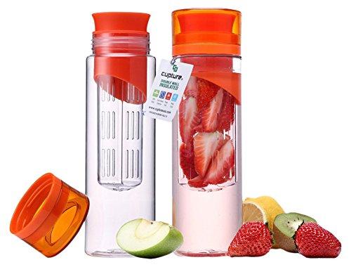 Cupture 2-Pack Fruit Infuser Water Bottle Unbreakable Tritan Material, 24-Ounce
