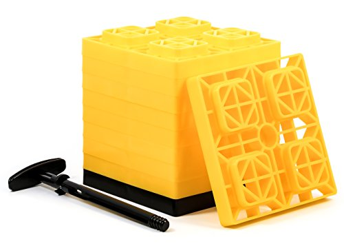 (Camco Fasten 2x2 Leveling Block for Single Tires, Interlocking Design Allows Stacking to Desired Height, Includes Secure T-Handle Carrying System, Yellow (Pack of 10) (44512), 10 Pack)