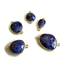 20 Pcs Blue Sapphire Sillimanite Rose Cut Connector,925 Sterling Silver Vermeil Gold Bezel Connectors