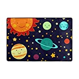Doormats Rugs Non Slip Sun Planet Emoji Gold Twinkle Stars Orange Green and Black Door Mats Playmats Carpets Soft Memory Foam Printing for Living Room Kids Bedroom Playing Room 23.6x15.7 inch