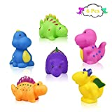 J-Deal Baby Bathtub Toys, 6 pcs Little Dinosaur Squirts Fun Bath Toys, Floating Whistle Bathroom Toy, Dinosaur Party Soft Rubber Toys Swimming for Children Kids Infant Toddler
