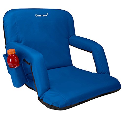 Driftsun Reclining Stadium Seat, Bleacher Chair with Back Support, Folding Sport Chair Reclines Perfect for Bleachers Lawns and Backyards, Blue ()