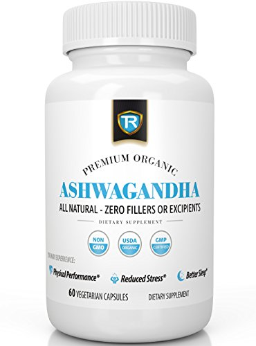 Organic Ashwagandha | Natural Anxiety Relief and Stress Support | Mood Enhancer & Thyroid Support Supplement | 500mg Root Extract Powder - 60 Vegetarian Capsules For Anti Anxiety