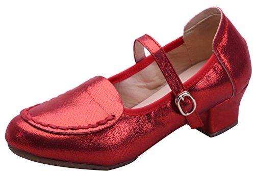 Abby 216 Kvinner Praksis Nybegynner Jazz Mary Jane Moderne Firkantet Pu Dans Sneaker Rød