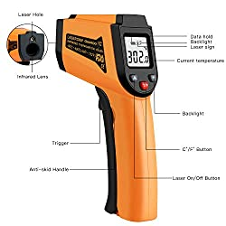 Infrared Thermometer, Non-Contact Digital Laser Infrared Thermometer Temperature Gun -50°C to 400°C(-58°F to 752°F) with LCD Display