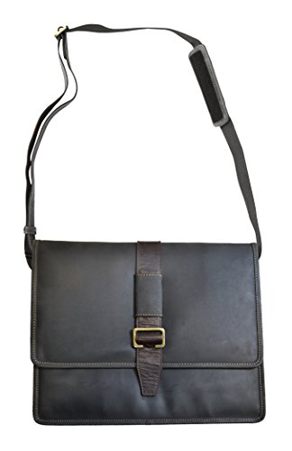 - Visconti Zorro Large Messenger Bag in Oiled Leather, Brown