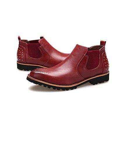Salut-Top Hommes Casual Bottes en Cuir D'affaires Chaussures Printemps Automne Hiver Marron Noir Rouge Dentelle Chaussures Red d5pEZ