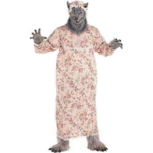 Suit Yourself Grandma Wolf Costume for Adults, Plus Size, Includes a Nightgown, a Wolf Mask, Gloves, a Hat, and More]()